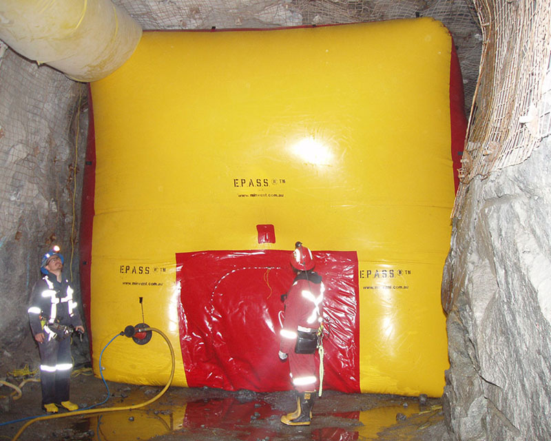 Inflated Emergency Personnel Access Safety System (EPASS) in situ in an underground hard rock mine